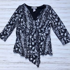 Dress Barn Snake Print Crossover Blouse, Sz Small